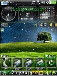 Тема для телефона Vista Nature + Часы + погода + Календарь