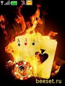 Тема для телефона Огненные карты+крутое меню