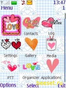 Тема для телефона Animated Love Stop+Любовное меню