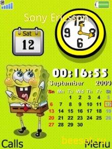 Тема для телефона Новый спанч боб+календарь+часы
