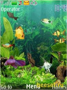 Тема для телефона Анимированный аквариум+новое меню