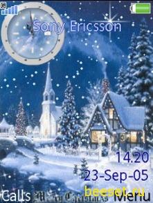 Тема для телефона Зима+новое часы