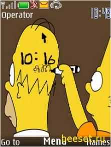 Тема для телефона Новые симпсоны+новые часы