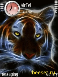 Тема для телефона Неоновый тигр+новое меню