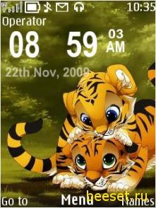 Тема для телефона Тигрята+часы+дата+новое меню