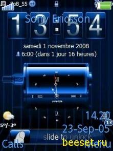 Тема для телефона Батарея+часы+погода(анимированная)