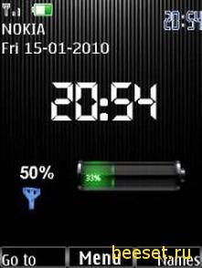 Тема для телефона Часы+батарея+антенна и новое меню