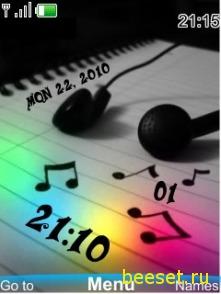 Тема для телефона Музыка + часы + дата + музыкальное меню