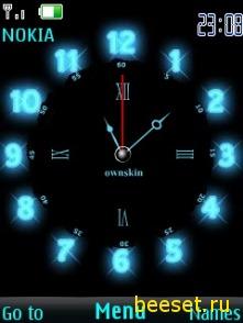 Тема для телефона Неоновые часы + новейшие иконки