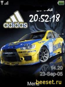 Тема для телефона Adidas+часы+дата+тачка