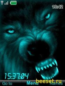 Тема для телефона Волк+часы+новое меню
