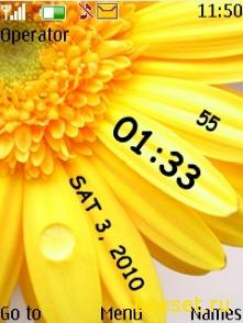 Тема для телефона Цветок+часы+дата