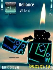 Тема для телефона Неоновая зажигалка