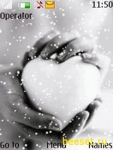 Тема для телефона Снежное сердце+новое меню