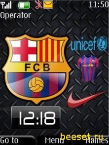 Тема для телефона Barcelona+часы