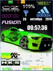 Тема для телефона Ford mustang+часы+дата+батарея+рингтон