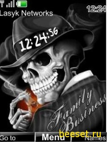 Тема для телефона Skull man + часы + сигарета
