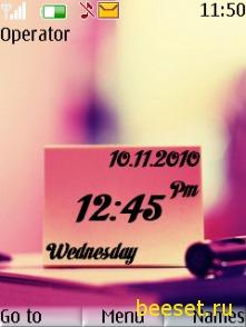 Тема для телефона Любовь + часы + дата