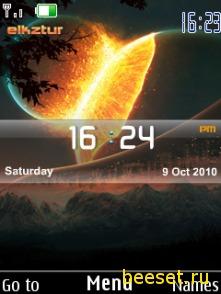 Тема для телефона Планеты + часы + дата + 3D меню