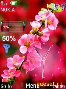 Тема для телефона Цветок+время+батарейка
