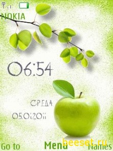 Тема для телефона Green Apple+clock