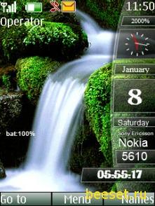 Тема для телефона Водопад(аним) + индикаторы + новое меню
