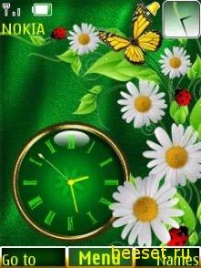 Тема для телефона Flowers+Clock