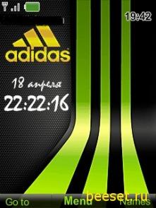 Тема для телефона Adidas+часы+дата+новое меню