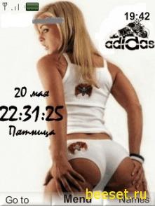Тема для телефона Adidas+девушка+часы+дата+меню