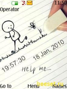 Тема для телефона Help Me(аним) + Часы и Дата + Новое Меню