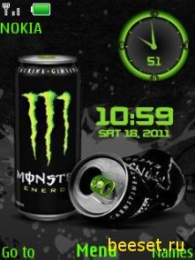Тема для телефона Monster Dual Clock (анимация, часы)