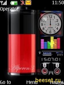 Тема для телефона Батарея+часы+эквалайзер+новое меню
