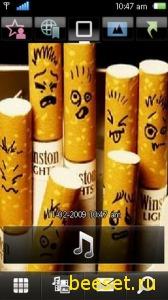 Тема для телефона Funny Cigarette + 3D Menu