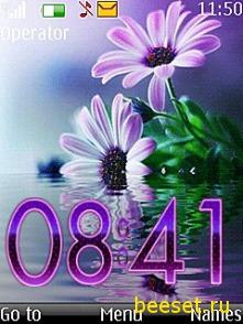Тема для телефона Digital flower сlock+меню