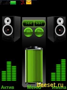 Тема для телефона Проигрыватель+батарея