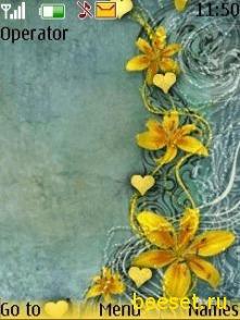 Тема для телефона Желтые цветочки