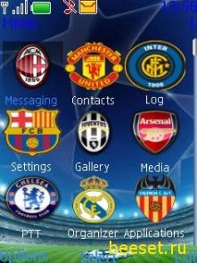 Тема для телефона Uefa menu 2009