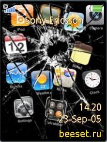Тема для телефона Разбитый Айфон