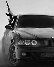 Картинка Ак 47 + БМВ черно-белая