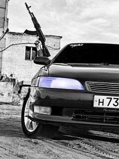 Картинка Машина и АК-47