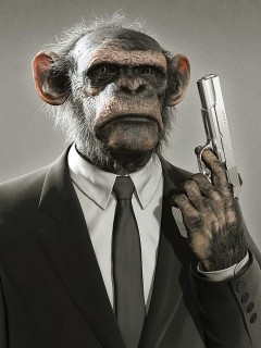 Картинка Обезьяна с пистолетом