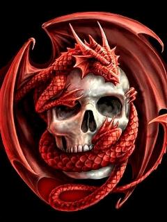Картинка Дракон на черепе