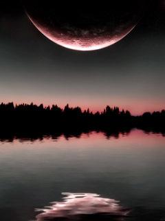 Картинка Озеро и луна