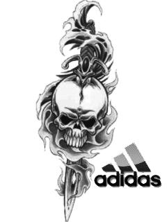 Картинка Adidas- огненый череп  тату